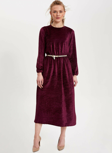 DeFacto Kadife Uzun Elbise Mor